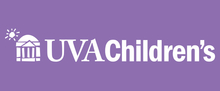UVA Children's knockout logo with purple background